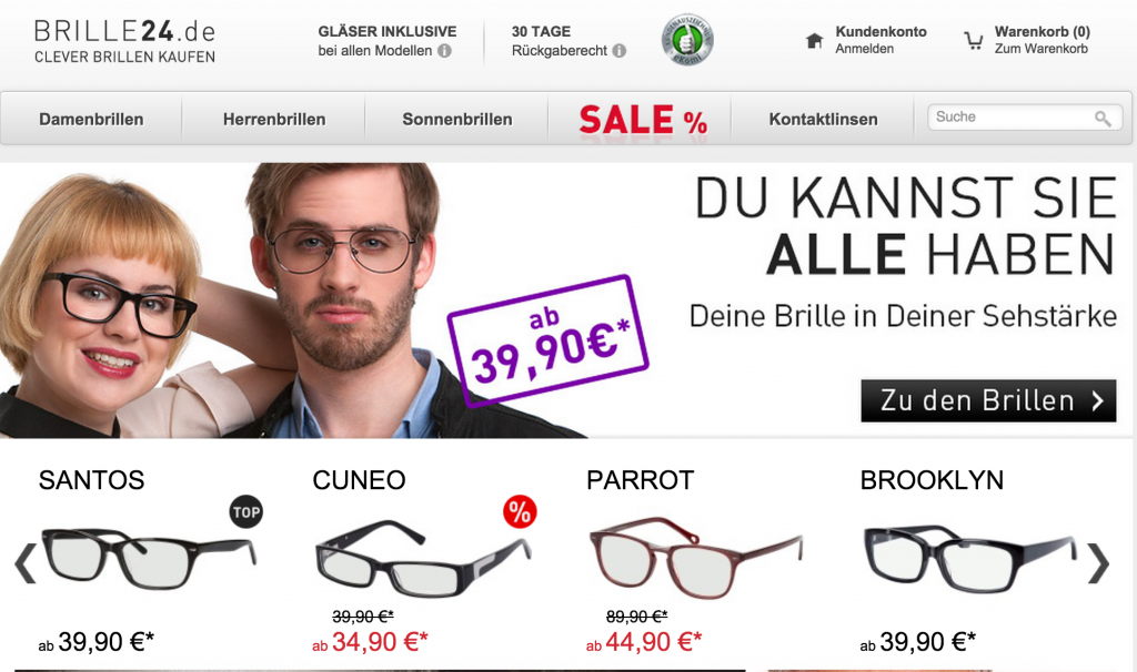 Brille24 Homepage