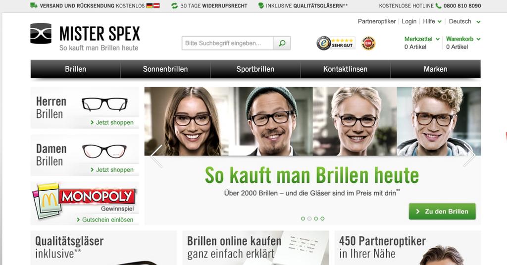 Mister Spex Homepage
