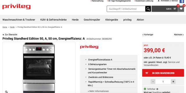 Produktdetail Seite von privileg.de